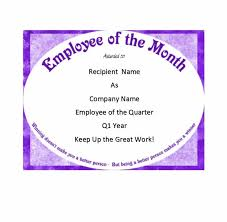 Employee Of The Quarter Certificate 30 Printable Employee Of The Month Certificates Template