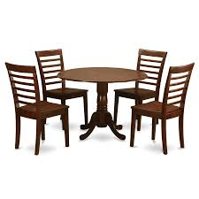 east west furniture dublin mahogany 5 piece dining set with round dining table