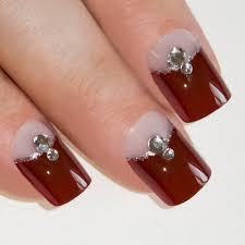 Nails by Bling Art Red Brown French Manicure Fake Medium Tips with ...