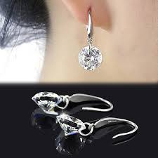 chic women silver plated ear hook chandelier crystal dangle earring gift
