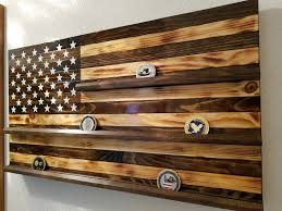 thin blue line challenge coin holder wood flag firefighter police wooden