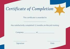 Certificate Of Training Completion Template On The Job Training Certificate Of Completion Template