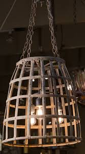 vintage hand woven iron basket as pendant re wired for the usa with