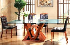 round wood dining table with glass top glass top dining tables fashion design wood dining table