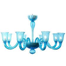 blue glass chandelier cerulean for blown