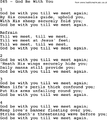 Adventist Hymnal, Song: 065-God Be With You, with Lyrics, PPT, Midi, MP3  and PDF