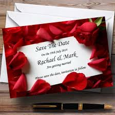 Red Save The Date Cards Red Rose Love Note Personalised Wedding Save The Date Cards