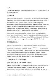 Titration Formula Title Acid Base Titration Preparation Of Standardization Of Naoh