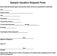 Sample Vacation Request Form Vacation Request Form Template Mous Syusa