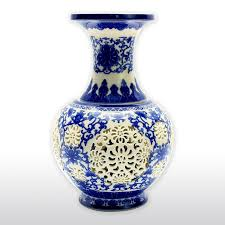 Decorative Jars And Vases Chinese Blue and White Porcelain Vase with Decorative Hollow 10
