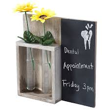 decorative wall mounted wood chalkboard rack with 2 glass planter vases by mygift for homeware in new zealand