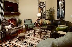 chicago art nouveau furniture family room eclectic with oriental rug traditional fireplace screens leather sofa