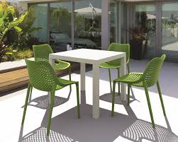 trendy outdoor furniture. Unique Outdoor Modern Outdoor Furniture Design Combined With Lovely Green Armless Chair  And Bright White Table Also Natural Plant In Outside Of The Bedroom  Trendy
