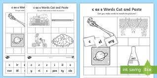 Phonics printable worksheets and activities (word families). C As S Sound Cut And Stick Worksheet Teacher Made