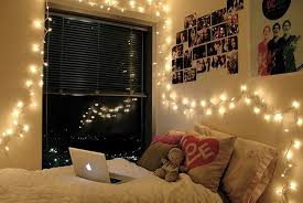 dorm room with fairy lights