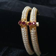 Devita Designer Jewellery Three Line Moti Bangles With Pink Stone Jewellery In 2019