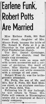 Earlene Funk Robert Potts marriage announcement - Newspapers.com