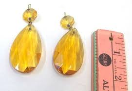 two vintage 2 amber chandelier crystals light goldtopaz teardrop chandelier prism lighting supply jewelry design yellow amber wedding decor