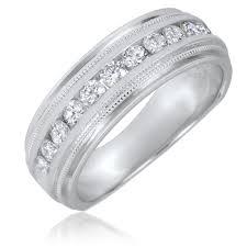 Mens 14k White Gold Diamond Wedding Bands