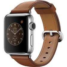 apple watch series 2 38mm smarch stainless steel case saddle brown classic buckle band