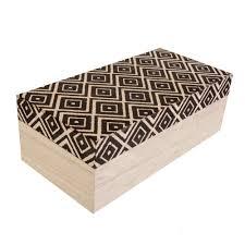 aztec print wooden trinket box