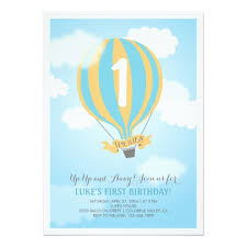 Balloon Birthday Invitations Hot Air Balloon Birthday Baby Boy Party Invite Zazzle Com