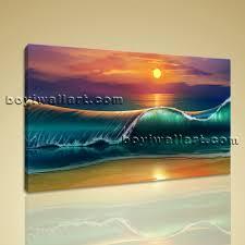 sunset beach waves sea seascape painting