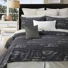 daniadown 55568d8 script king duvet cover set in taupe with off white writing