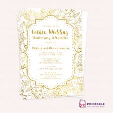 Easy Invitation Templates Free Pdf Template Golden Wedding Anniversary Invitation