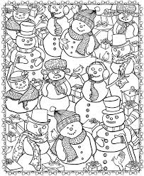Small Picture Adult coloring page Winter Snowmen 4