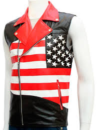 american leather vest for men usa flag leather vest