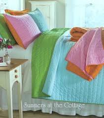 aqua turquoise lime green nostalgia pickstitch bedding shabby beach chic view images