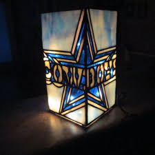 dallas cowboys stained glass lighted vase by jack chapman