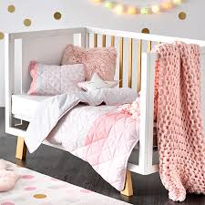 adairs kids addison quilted pale pink cot quilt cover set