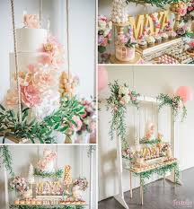 a beautiful garden themed birthday partybaby party