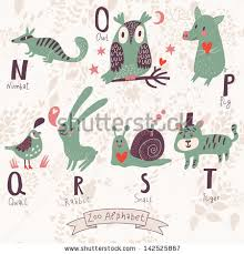 stock vector cute zoo alphabet in vector n o p q r s t letters funny animals in love numbat owl pig