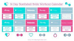 14 Day Bridal Workout Calendar - Mind Body Bride