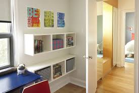 bright wall mounted bookshelves in kids