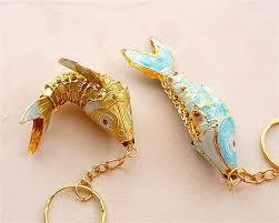 cloisonne swing 6 5 koi fish keychains keyring retro china carp enamel jewelry crafts accessory key charm pendant ethnic gift