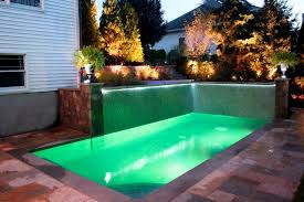 backyard with pool design ideas. Outdoor Design, Small Swimming Pool Design Ideas With Modern Tile Lighting Plants Flower Accessories Decor Backyard R