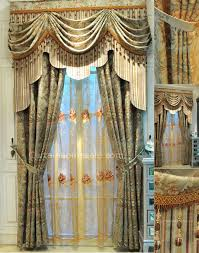 vintage lace curtains in combined green color for fancy living room or bedroom