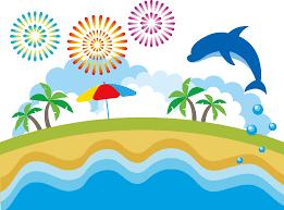 フリーイラスト イルカの飛ぶ夏の海と花火とヤシの木の背景でアハ体験