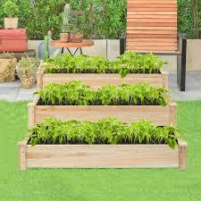 wooden raised vegetable garden bed 3 tier elevated planter kit gardening