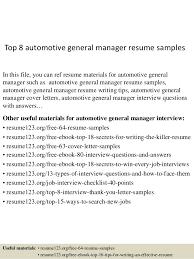 General Resume Samples Top 8 Automotive General Manager Resume Samples