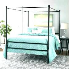 Black Canopy Bed Iron Frame King Size Bedroom Set Blackout Curtains ...