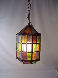 vintage stained glass leaded hanging light lamp chandelier shade rainbow colorful lighting mid century retro modern decorative home decor