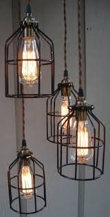 industrial pendant lighting. upcycled industrial cage hanging pendant light lighting