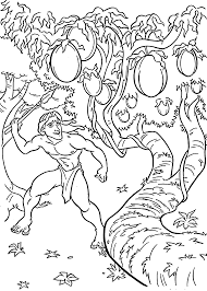 Tarzan And Fruits Coloring Pages For
