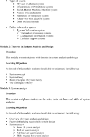 Basic Information Systems Analysis And Design Course Title Ols 207 Information Systems Analysis Design