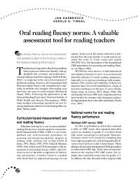 Pdf Oral Reading Fluency Norms A Valuable Assessment Tool
